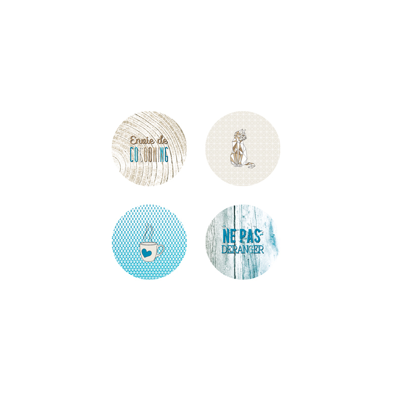 Marie-LN Geffray - Lot de 4 badges Hiverning